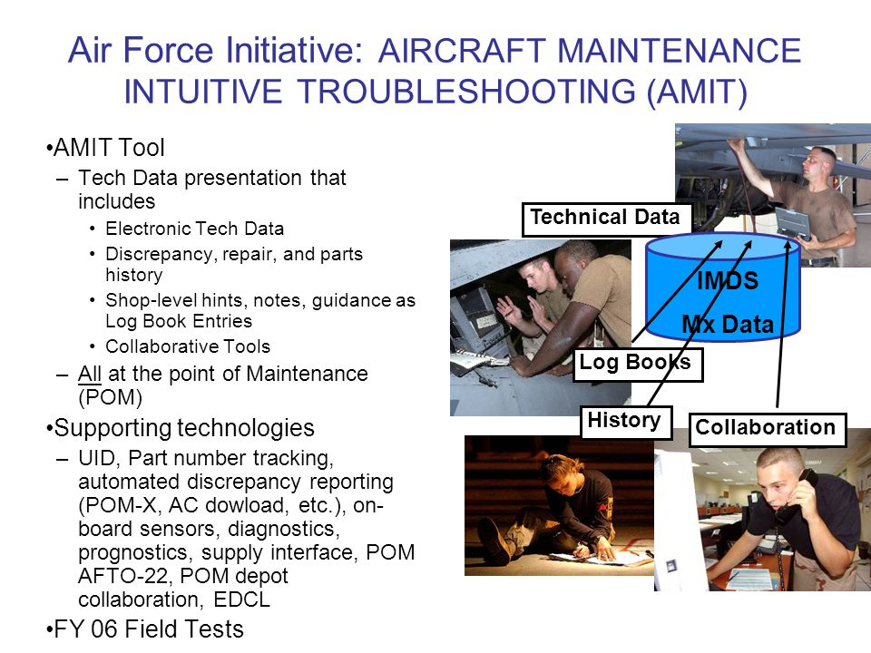 Air Force Initiative: AIRCRAFT MAINTENANCE INTUITIVE TROUBLESHOOTING (AMIT) AMIT Tool –Tech Data presentation that includes Electronic Tech Data Discrepancy, repair, and parts history Shop-level hints, notes, guidance as Log Book Entries Collaborative Tools –All at the point of Maintenance (POM) Supporting technologies –UID, Part number tracking, automated discrepancy reporting (POM-X, AC dowload, etc.), on- board sensors, diagnostics, prognostics, supply interface, POM AFTO-22, POM depot collaboration, EDCL FY 06 Field Tests Technical Data Log Books Collaboration History IMDS Mx Data