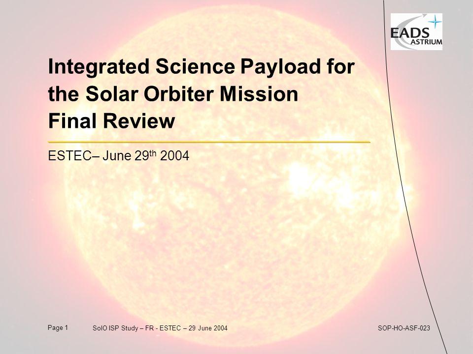 Page 122SolO ISP Study – FR - ESTEC – 29 June 2004SOP-HO-ASF-023 SOP DPU Mass and Power Budget