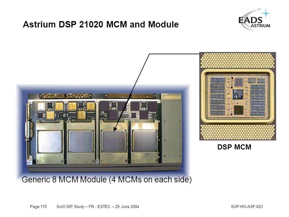 Page 115SolO ISP Study – FR - ESTEC – 29 June 2004SOP-HO-ASF-023 Astrium DSP 21020 MCM and Module Generic 8 MCM Module (4 MCMs on each side) DSP MCM
