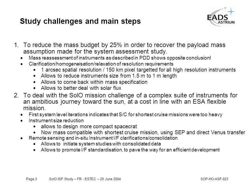 Page 124 SolO ISP Study – FR - ESTEC – 29 June 2004SOP-HO-ASF-023 Study conclusions