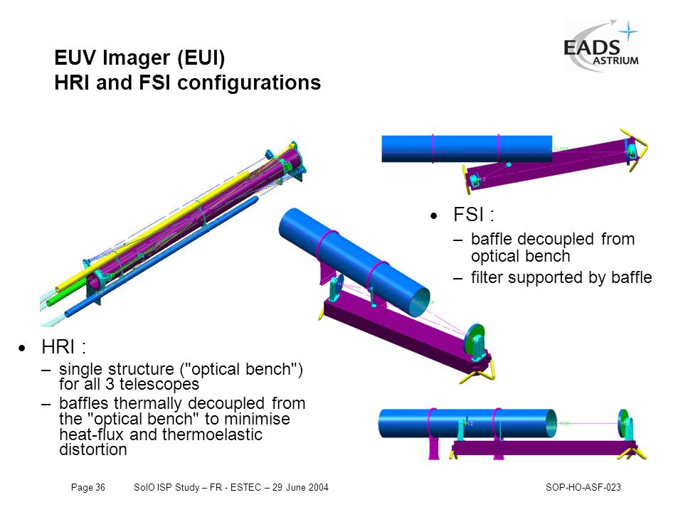 Page 36SolO ISP Study – FR - ESTEC – 29 June 2004SOP-HO-ASF-023 EUV Imager (EUI) HRI and FSI configurations  HRI : –single structure ( optical bench ) for all 3 telescopes –baffles thermally decoupled from the optical bench to minimise heat-flux and thermoelastic distortion  FSI : –baffle decoupled from optical bench –filter supported by baffle