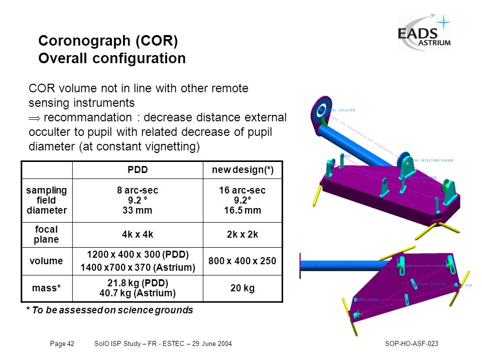 Page 42SolO ISP Study – FR - ESTEC – 29 June 2004SOP-HO-ASF-023 Coronograph (COR) Overall configuration PDDnew design(*) sampling field diameter 8 arc-sec 9.2 ° 33 mm 16 arc-sec 9.2° 16.5 mm focal plane 4k x 4k2k x 2k volume 1200 x 400 x 300 (PDD) 1400 x700 x 370 (Astrium) 800 x 400 x 250 mass* 21.8 kg (PDD) 40.7 kg (Astrium) 20 kg COR volume not in line with other remote sensing instruments  recommandation : decrease distance external occulter to pupil with related decrease of pupil diameter (at constant vignetting) * To be assessed on science grounds