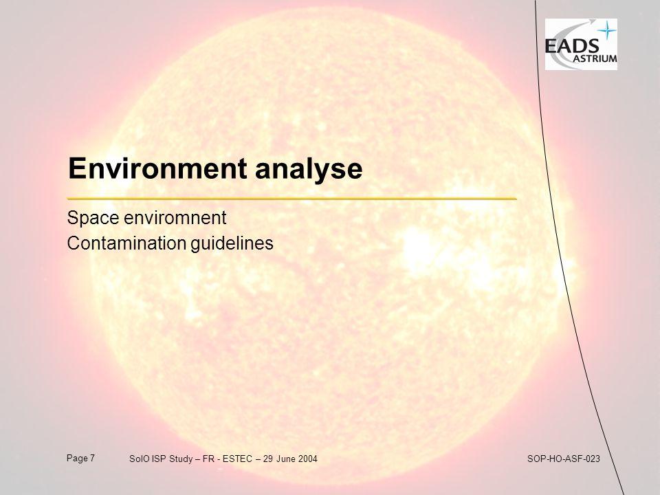 Page 8SolO ISP Study – FR - ESTEC – 29 June 2004SOP-HO-ASF-023 Environment Analysis  Source Term: Mission Solar Proton Fluence