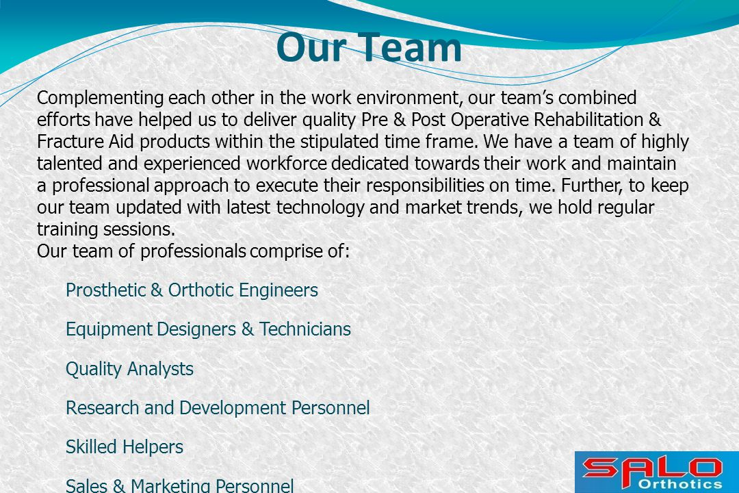 Our Team Complementing each other in the work environment, our team's combined efforts have helped us to deliver quality Pre & Post Operative Rehabili