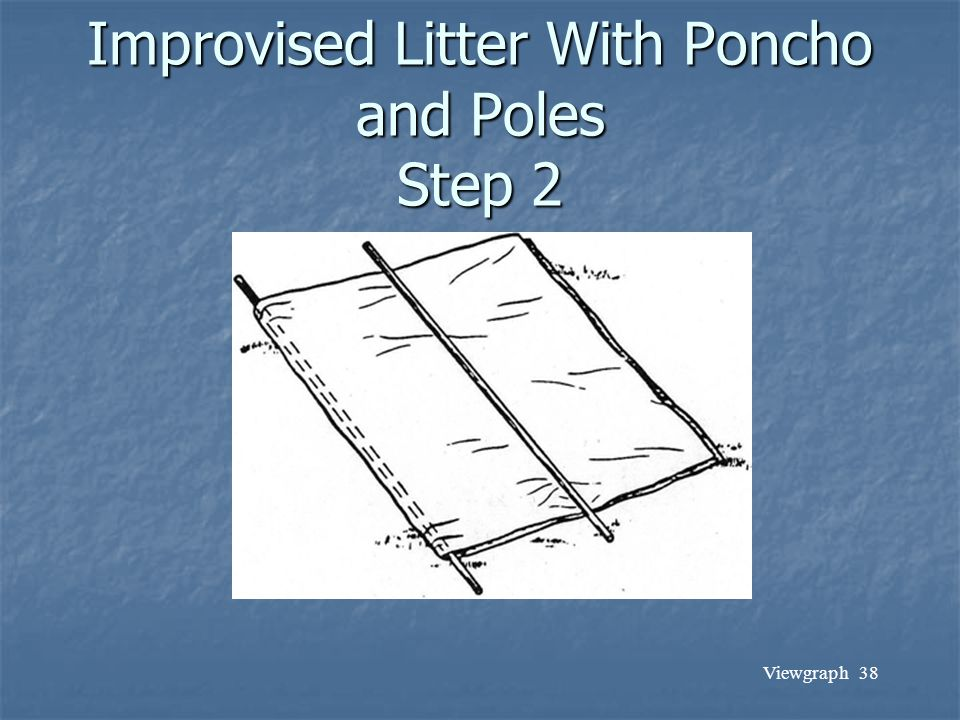Viewgraph 38 Improvised Litter With Poncho and Poles Step 2
