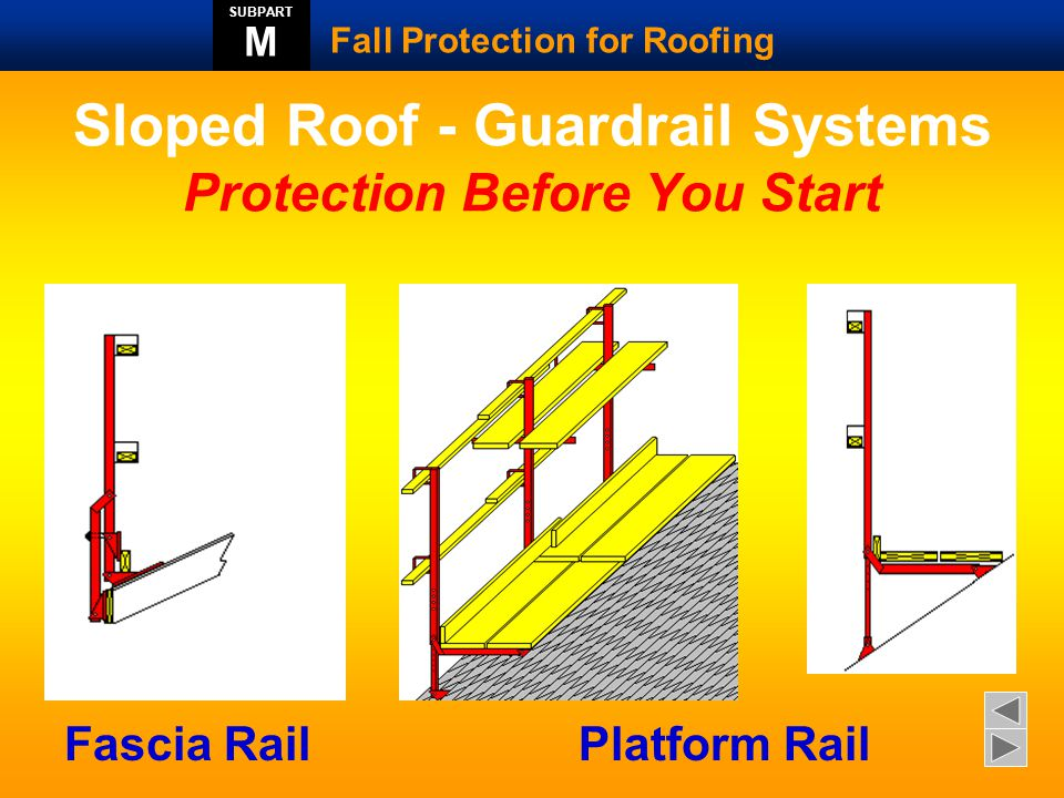 Scaffold Catch Platform  Scaffolding erected at the perimeter of the roof to limit a fall to less than six feet  Addition fall protection may be required at the rake or gable end of the building  Guardrails would be required to prevent an employee from rolling off of the scaffolding  Scaffolding must be erected under a trained supervisor and inspected daily by a competent person.