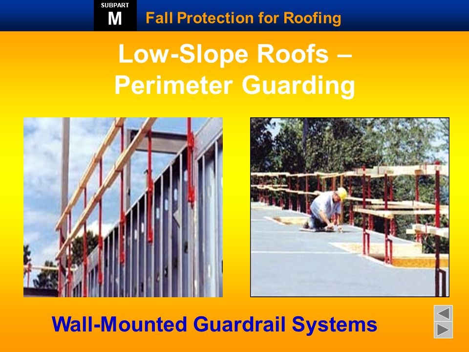 Guardrail for parapet walls Fall Protection for Roofing SUBPART M