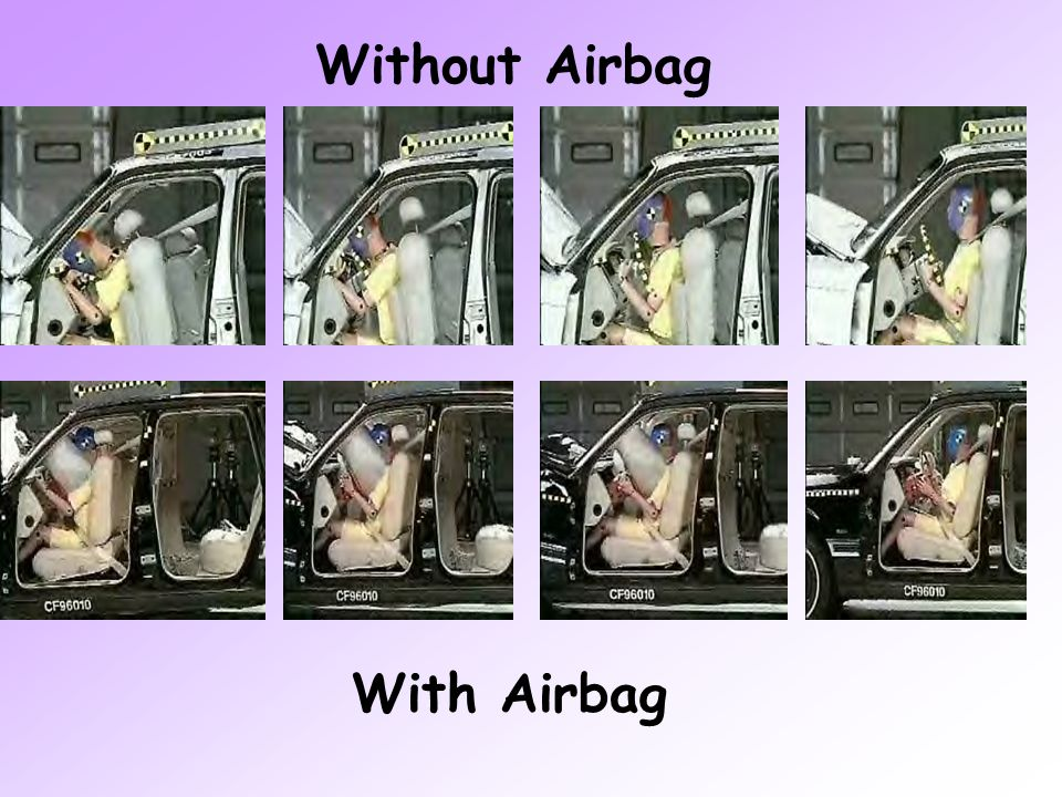 Below is an illustration of a driver side airbag deployment. The first image is the airbag inflation, the second depicts the dummies contact with the