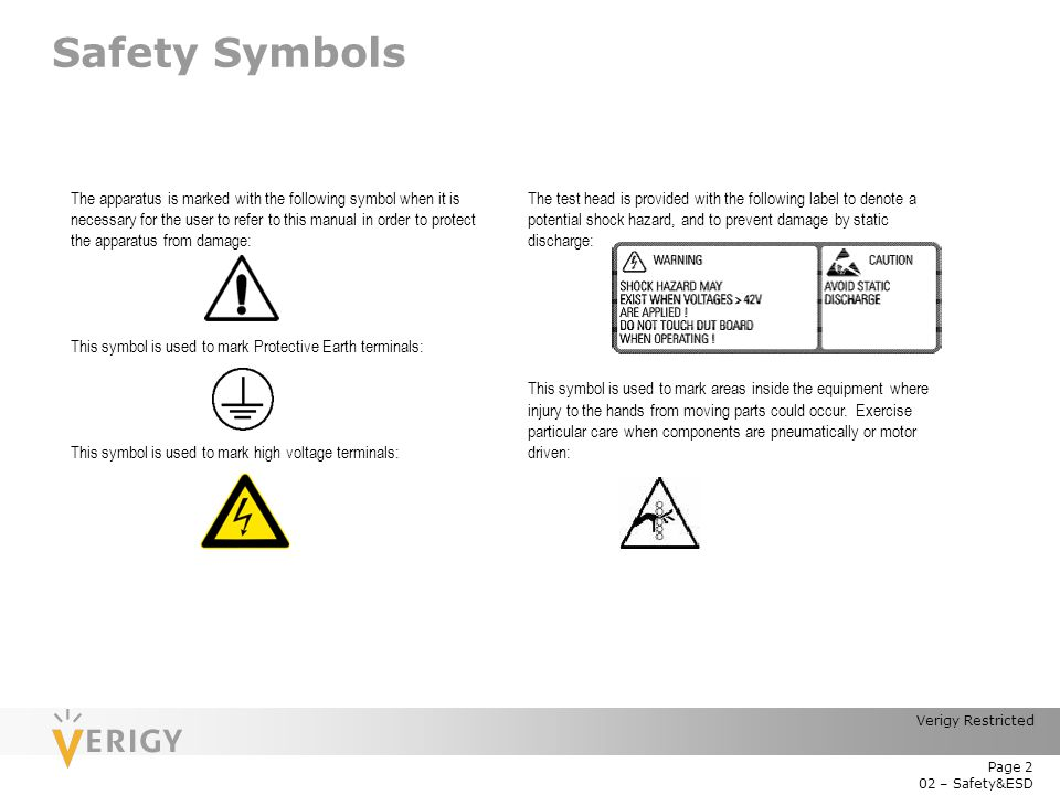 Module 2: Safety and ESD Verigy V93000 Service Training