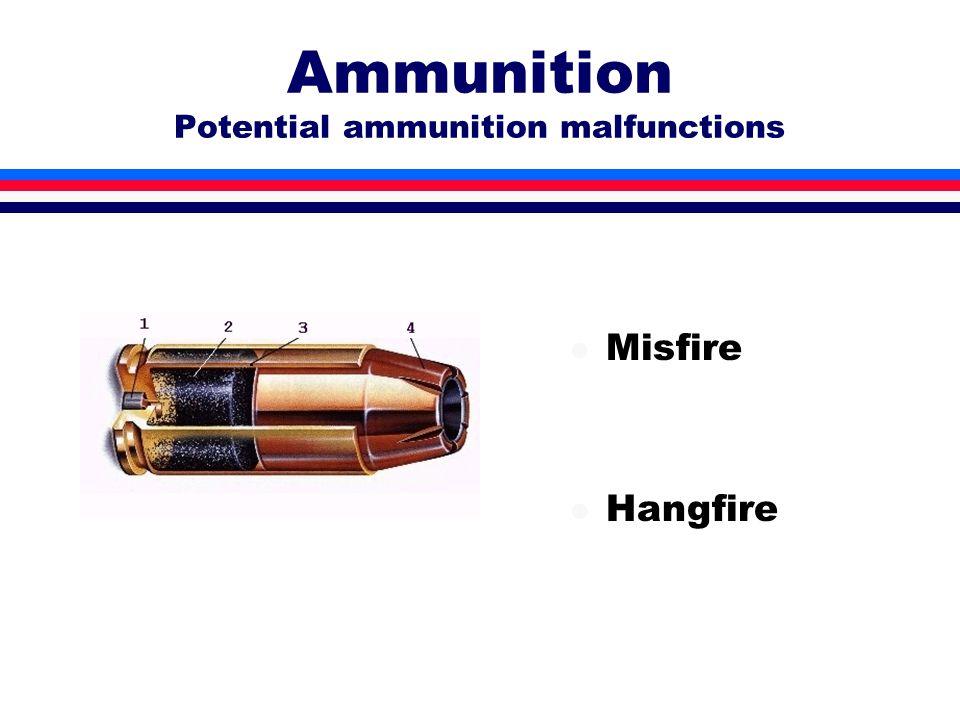 Ammunition Potential ammunition malfunctions l Misfire l Hangfire