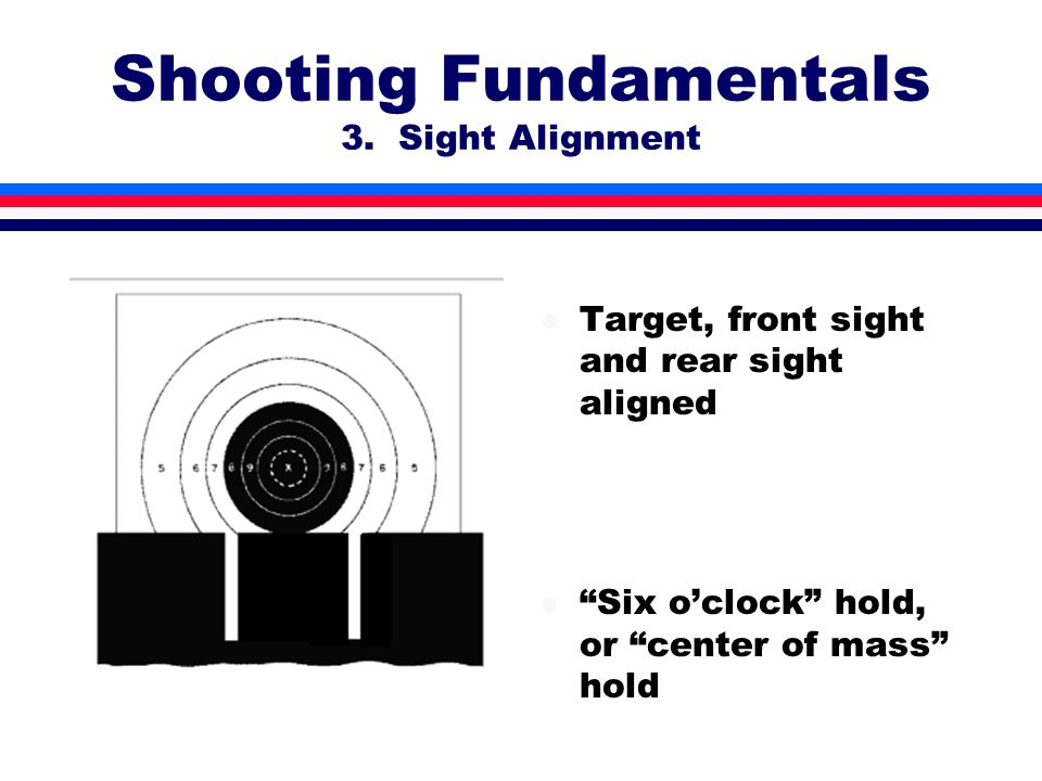 l Target, front sight and rear sight aligned l Six o'clock hold, or center of mass hold