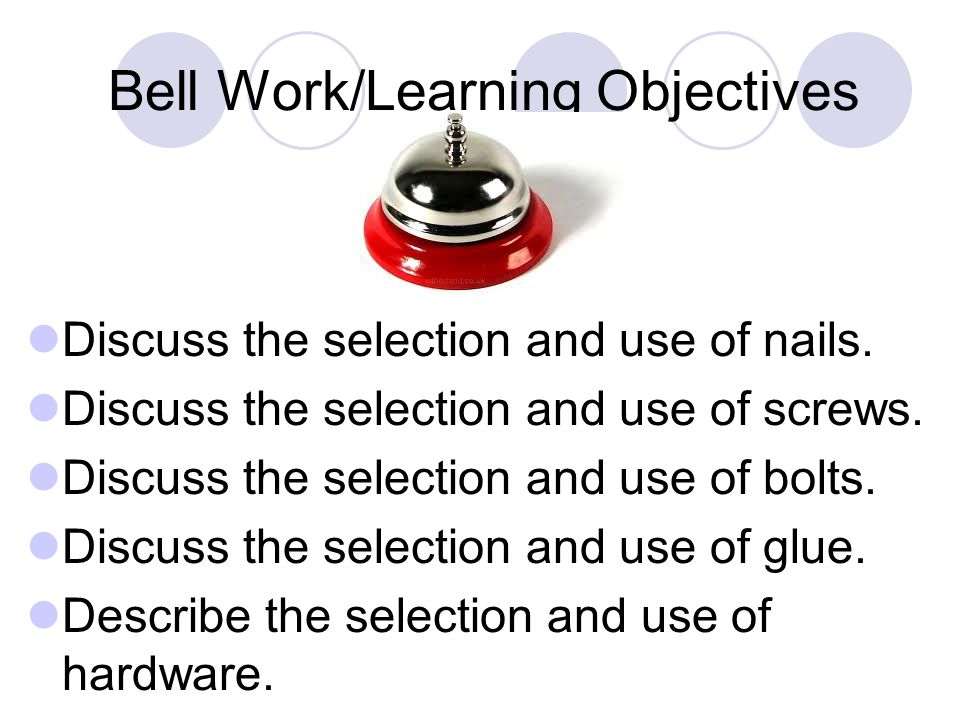 Bell Work/Learning Objectives Discuss the selection and use of nails.
