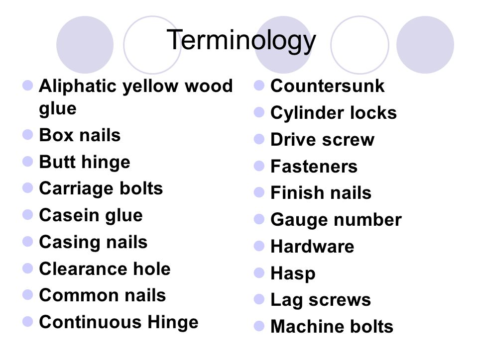Terminology Aliphatic yellow wood glue Box nails Butt hinge Carriage bolts Casein glue Casing nails Clearance hole Common nails Continuous Hinge Countersunk Cylinder locks Drive screw Fasteners Finish nails Gauge number Hardware Hasp Lag screws Machine bolts