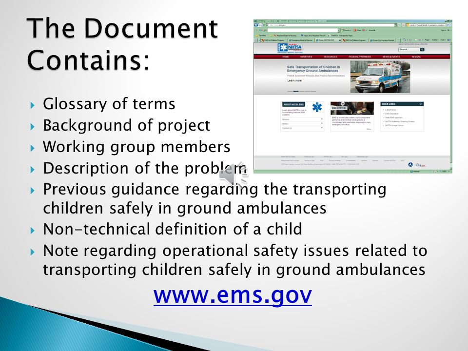 The Document Contains:  Glossary of terms  Background of project  Working group members  Description of the problem  Previous guidance regarding