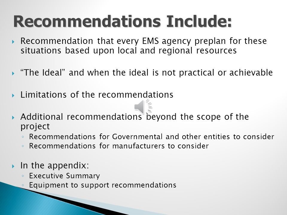 """ Recommendation that every EMS agency preplan for these situations based upon local and regional resources  """"The Ideal"""" and when the ideal is not pr"""