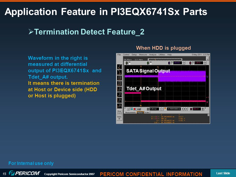 15 Copyright Pericom Semiconductor 2007 Last Slide PERICOM CONFIDENTIAL INFORMATION Application Feature in PI3EQX6741Sx Parts For Internal use only  Termination Detect Feature_2 Waveform in the right is measured at differential output of PI3EQX6741Sx and Tdet_A# output.