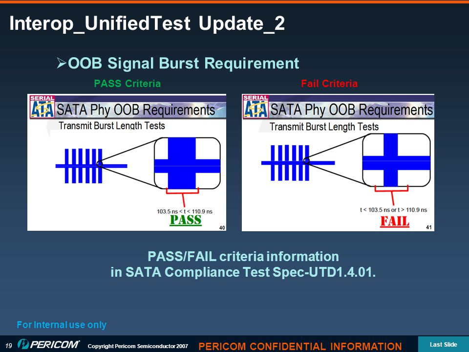 19 Copyright Pericom Semiconductor 2007 Last Slide PERICOM CONFIDENTIAL INFORMATION Interop_UnifiedTest Update_2 For Internal use only  OOB Signal Burst Requirement PASS CriteriaFail Criteria PASS/FAIL criteria information in SATA Compliance Test Spec-UTD1.4.01.