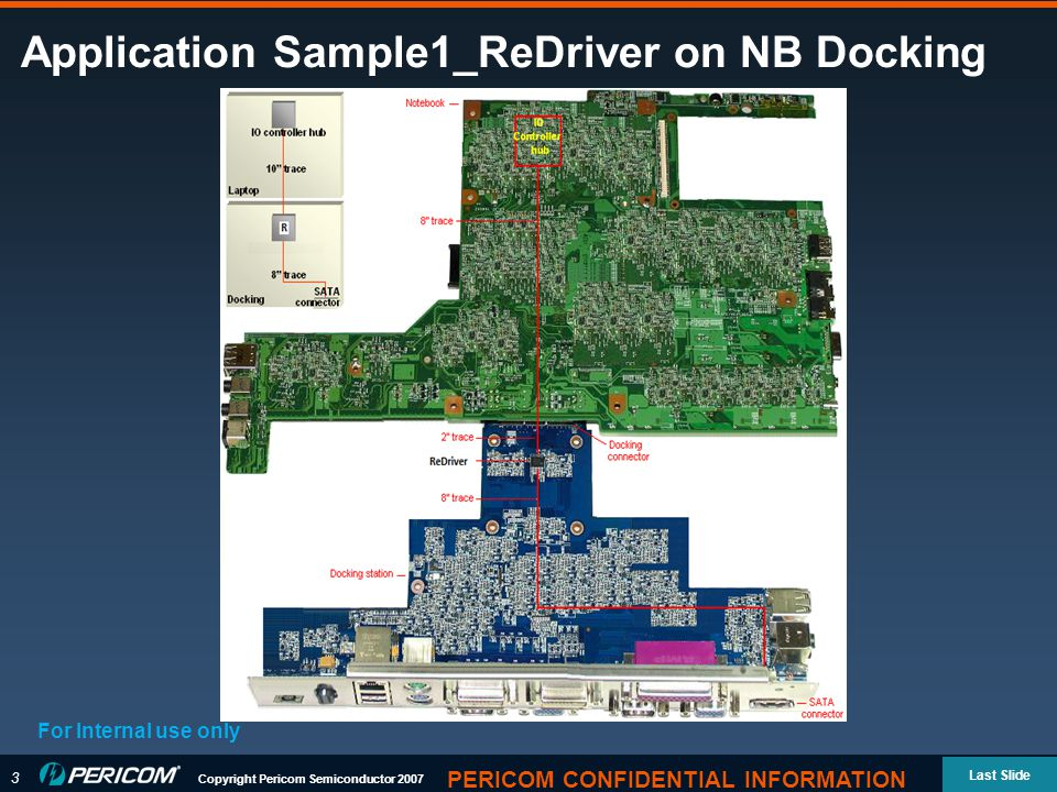 3 Copyright Pericom Semiconductor 2007 Last Slide PERICOM CONFIDENTIAL INFORMATION Application Sample1_ReDriver on NB Docking For Internal use only