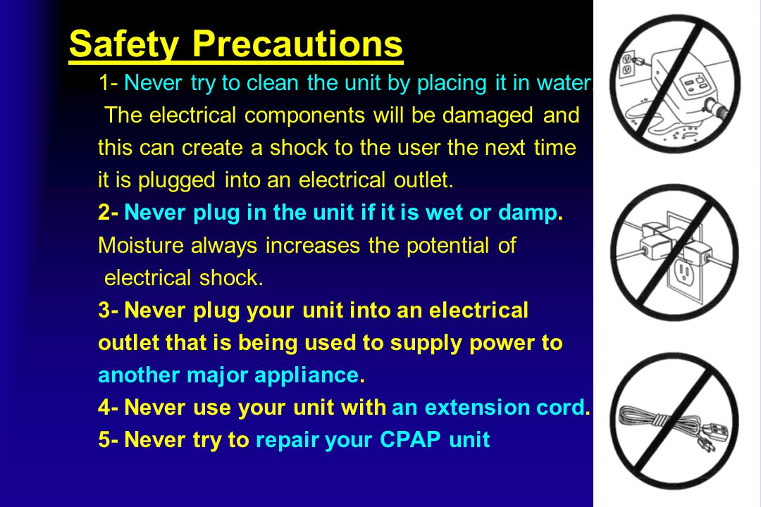 Safety Precautions 1- Never try to clean the unit by placing it in water. The electrical components will be damaged and this can create a shock to the