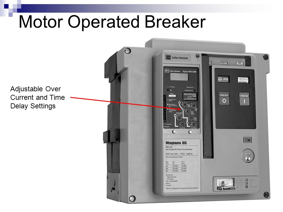 Motor Operated Breaker Adjustable Over Current and Time Delay Settings