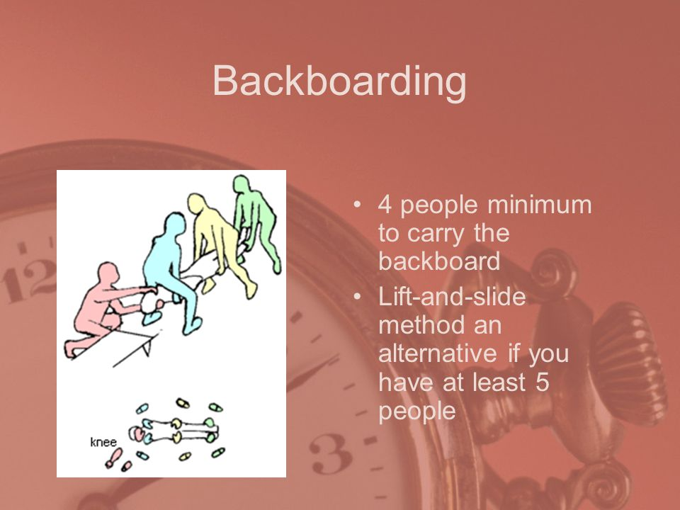 Backboarding 4 people minimum to carry the backboard Lift-and-slide method an alternative if you have at least 5 people
