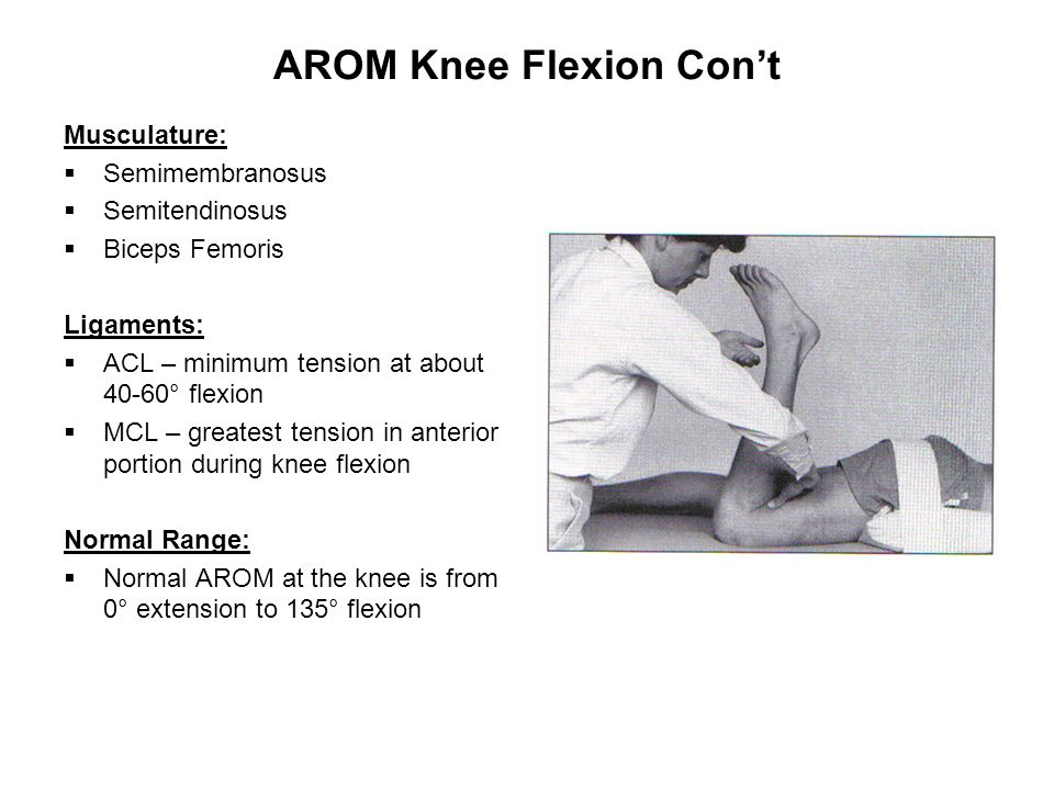 AROM Knee Flexion Con't Musculature:  Semimembranosus  Semitendinosus  Biceps Femoris Ligaments:  ACL – minimum tension at about 40-60° flexion  MCL – greatest tension in anterior portion during knee flexion Normal Range:  Normal AROM at the knee is from 0° extension to 135° flexion