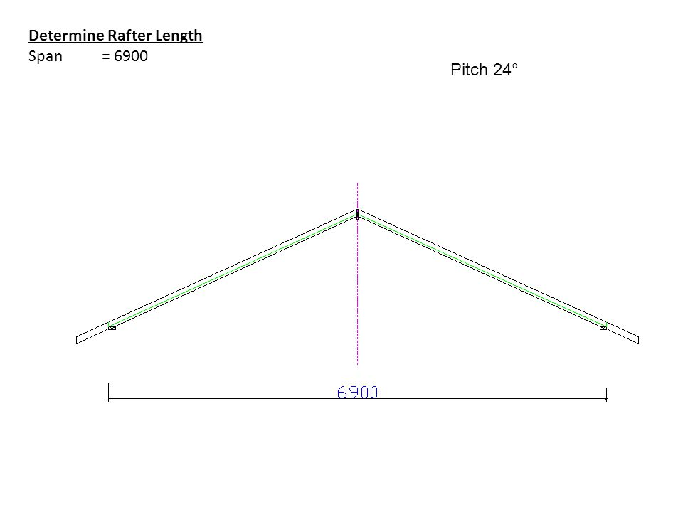 Determine Rafter Length Span = 6900 Pitch 24°