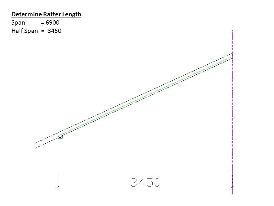 Determine Rafter Length Span = 6900 Half Span = 3450