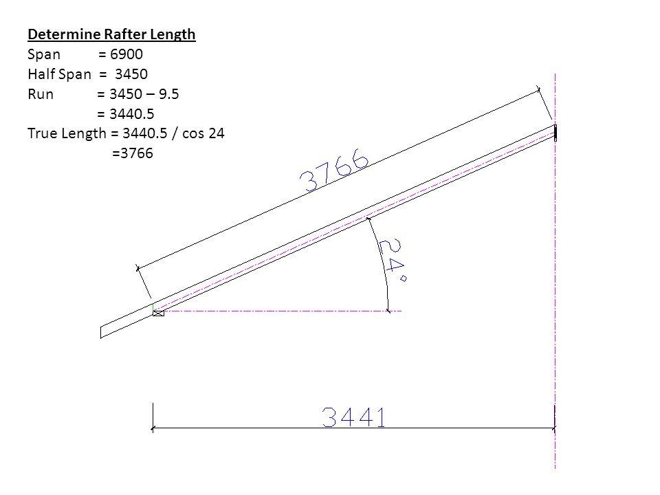 Determine Rafter Length Span = 6900 Half Span = 3450 Run = 3450 – 9.5 = 3440.5 True Length = 3440.5 / cos 24 =3766