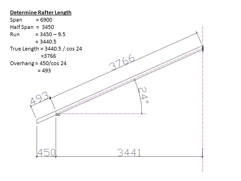 Determine Rafter Length Span = 6900 Half Span = 3450 Run = 3450 – 9.5 = 3440.5 True Length = 3440.5 / cos 24 =3766 Overhang = 450/cos 24 = 493