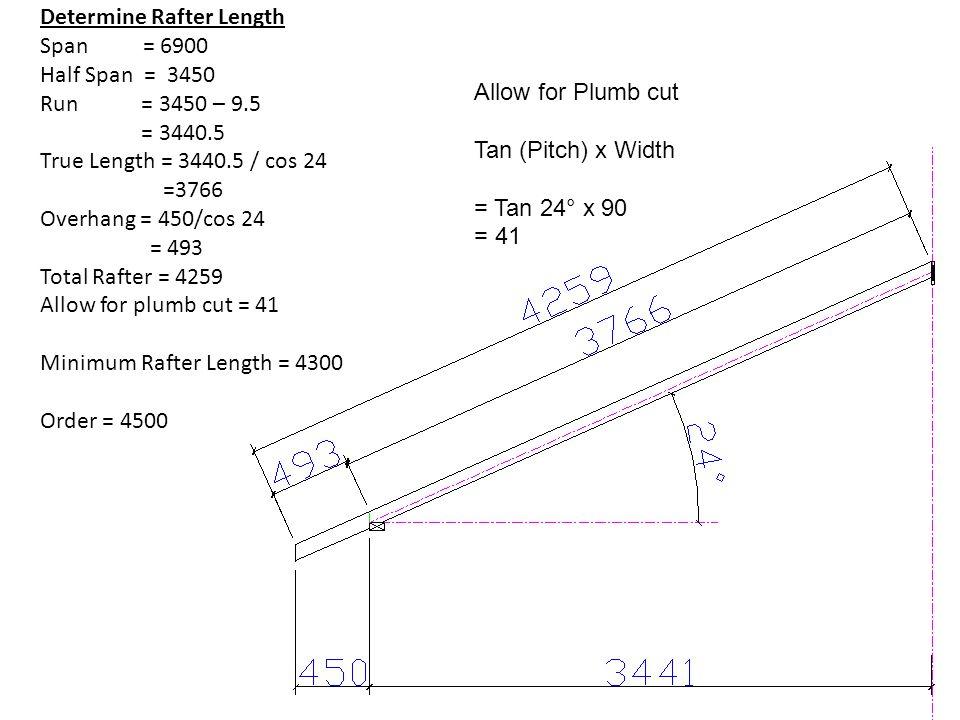 Determine Rafter Length Span = 6900 Half Span = 3450 Run = 3450 – 9.5 = 3440.5 True Length = 3440.5 / cos 24 =3766 Overhang = 450/cos 24 = 493 Total R