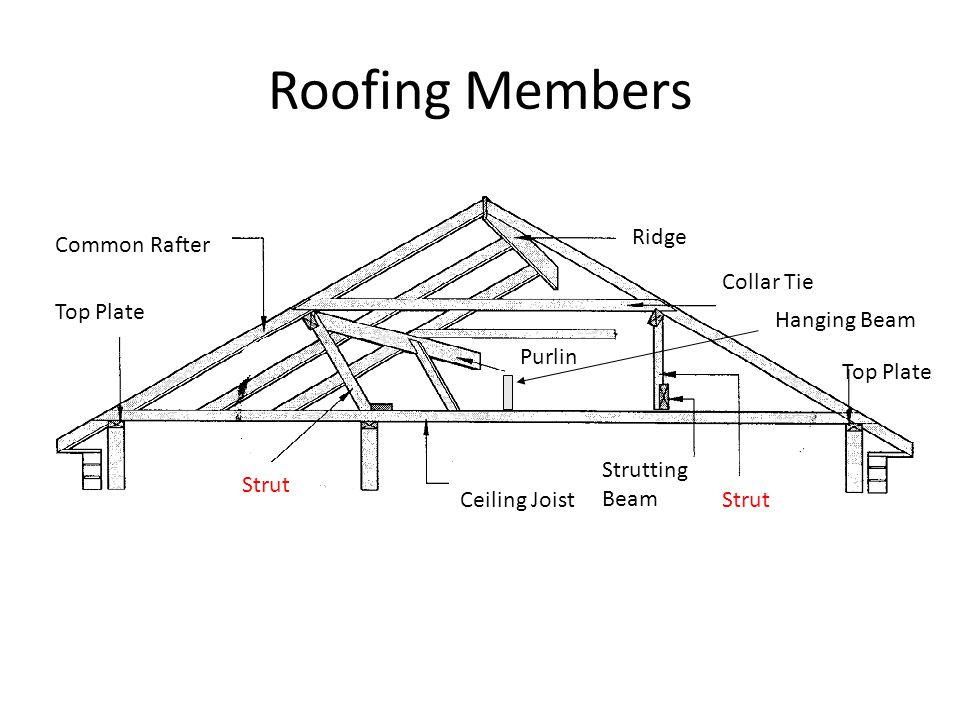 Roofing Members Common Rafter Ridge Collar Tie Purlin Strut Ceiling Joist Top Plate Strutting Beam Hanging Beam