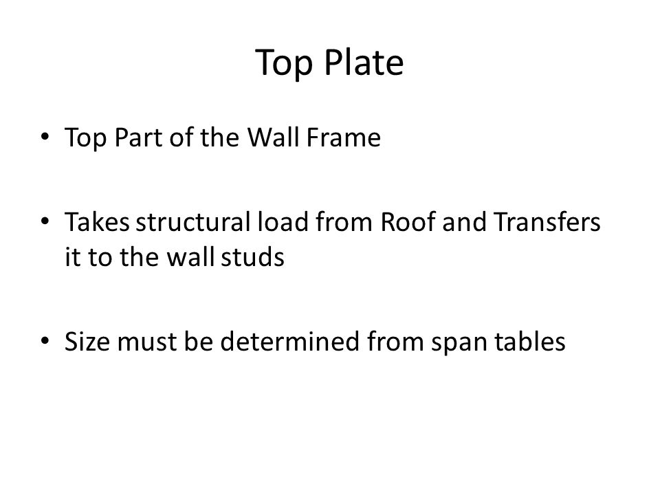 Top Part of the Wall Frame Takes structural load from Roof and Transfers it to the wall studs Size must be determined from span tables