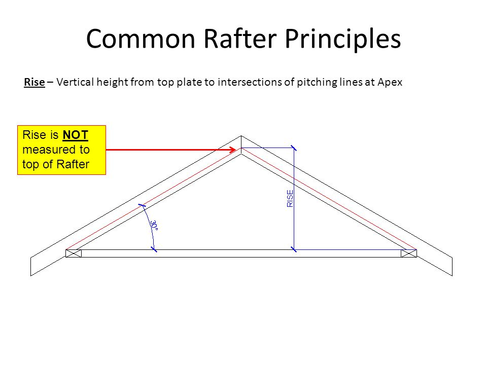 Common Rafter Principles Rise – Vertical height from top plate to intersections of pitching lines at Apex Rise is NOT measured to top of Rafter