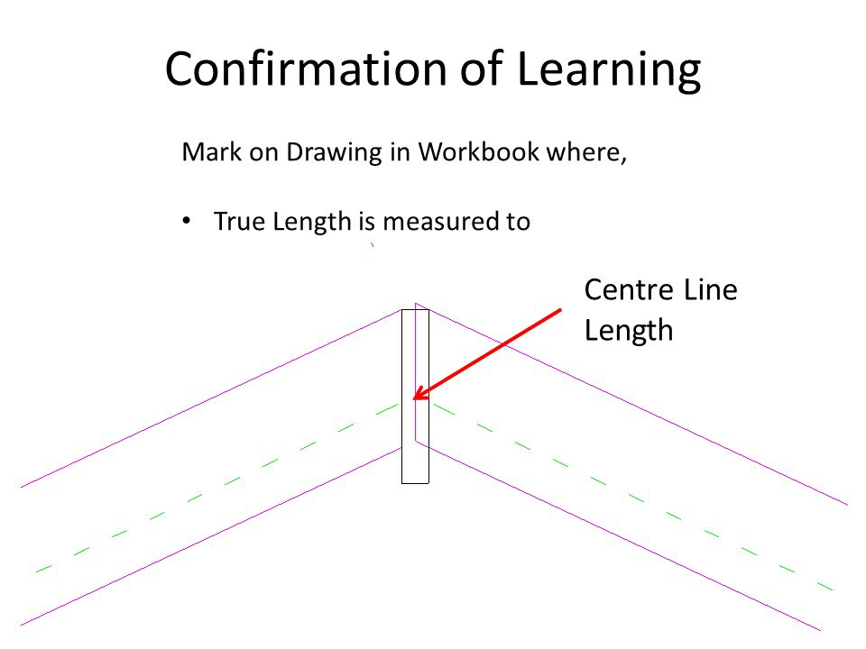 Confirmation of Learning Centre Line Length Mark on Drawing in Workbook where, True Length is measured to