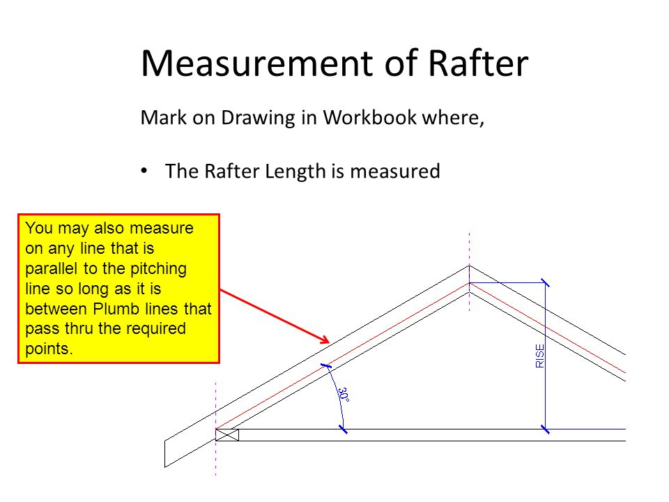 Measurement of Rafter Mark on Drawing in Workbook where, The Rafter Length is measured You may also measure on any line that is parallel to the pitchi