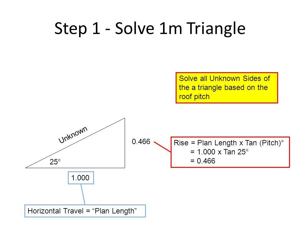 "Step 1 - Solve 1m Triangle 25° 1.000 0.466 Rise = Plan Length x Tan (Pitch)° = 1.000 x Tan 25° = 0.466 Horizontal Travel = ""Plan Length"" Unknown Solve"