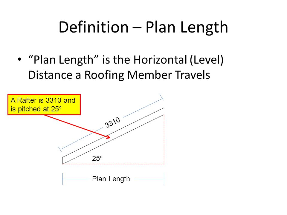 """Definition – Plan Length """"Plan Length"""" is the Horizontal (Level) Distance a Roofing Member Travels 25° 3310 A Rafter is 3310 and is pitched at 25° Pla"""