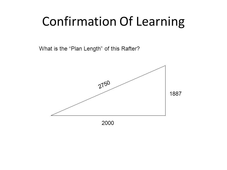"""Confirmation Of Learning 2000 2750 1887 What is the """"Plan Length"""" of this Rafter?"""