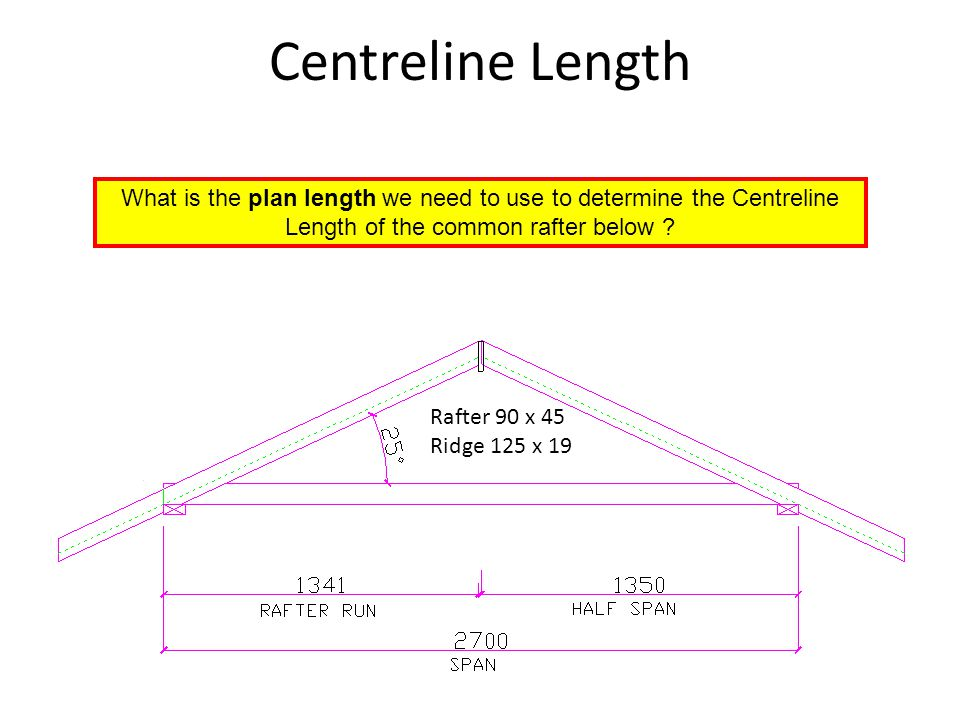 Centreline Length Rafter 90 x 45 Ridge 125 x 19 What is the plan length we need to use to determine the Centreline Length of the common rafter below ?