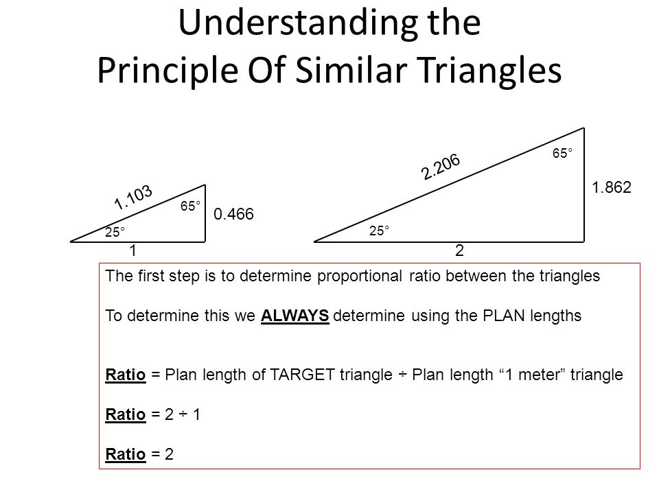 Understanding the Principle Of Similar Triangles 25° 1 0.466 1.103 2 1.862 2.206 The first step is to determine proportional ratio between the triangl