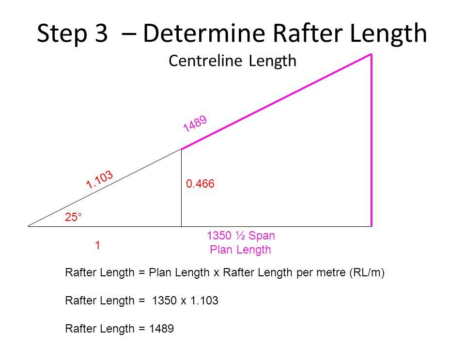Step 3 – Determine Rafter Length Centreline Length 25° 1 Rafter Length = Plan Length x Rafter Length per metre (RL/m) Rafter Length = 1350 x 1.103 Raf