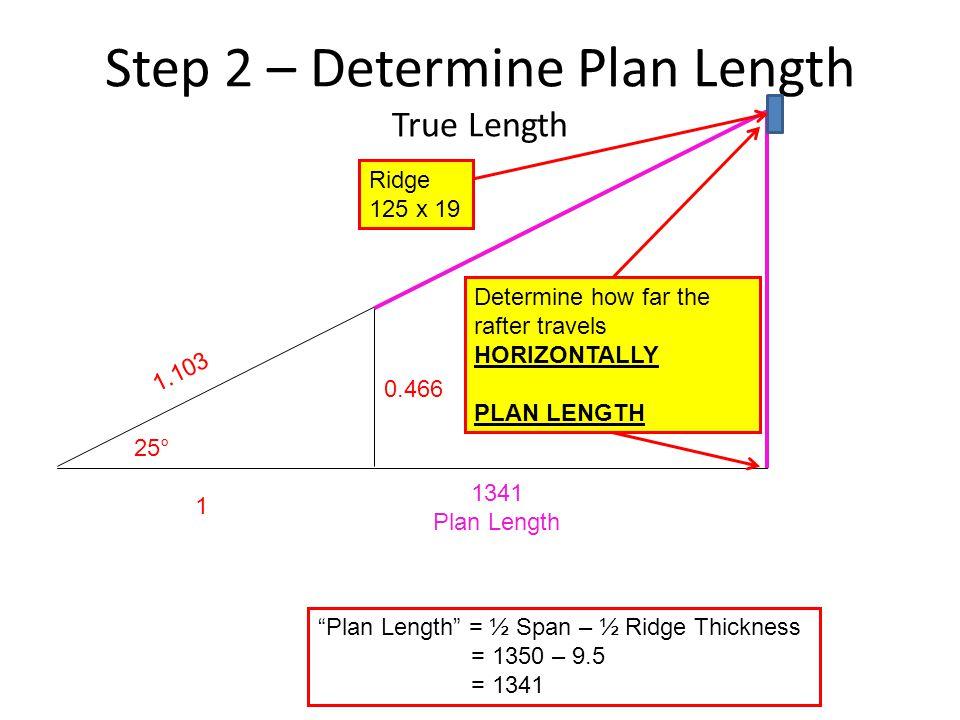 "Step 2 – Determine Plan Length True Length 25° 1 0.466 1.103 1341 Plan Length ""Plan Length"" = ½ Span – ½ Ridge Thickness = 1350 – 9.5 = 1341 Determine"