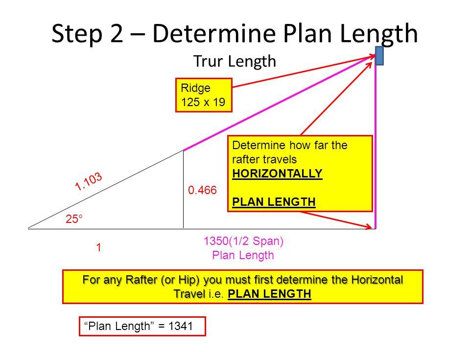 "Step 2 – Determine Plan Length Trur Length 25° 1 0.466 1.103 1350(1/2 Span) Plan Length ""Plan Length"" = 1341 Determine how far the rafter travels HORI"