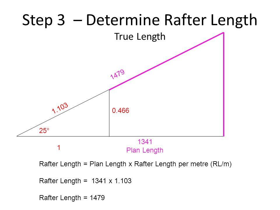 Step 3 – Determine Rafter Length True Length 25° 1 Rafter Length = Plan Length x Rafter Length per metre (RL/m) Rafter Length = 1341 x 1.103 Rafter Le