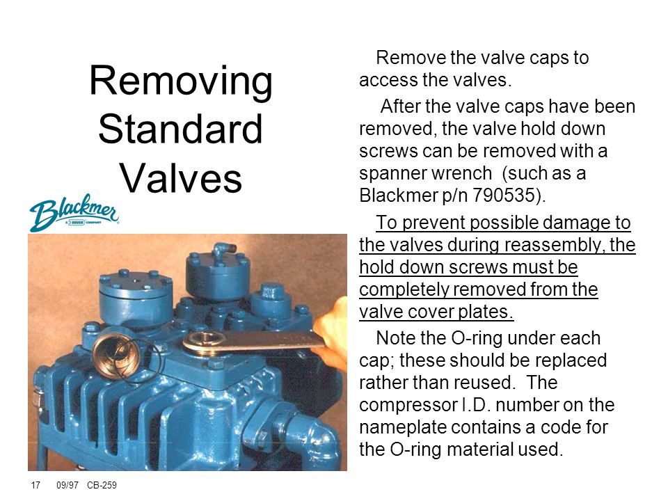 16 09/97 CB-259 Removing Standard Valves Cap O-ring Remove hold down screw from valve cap