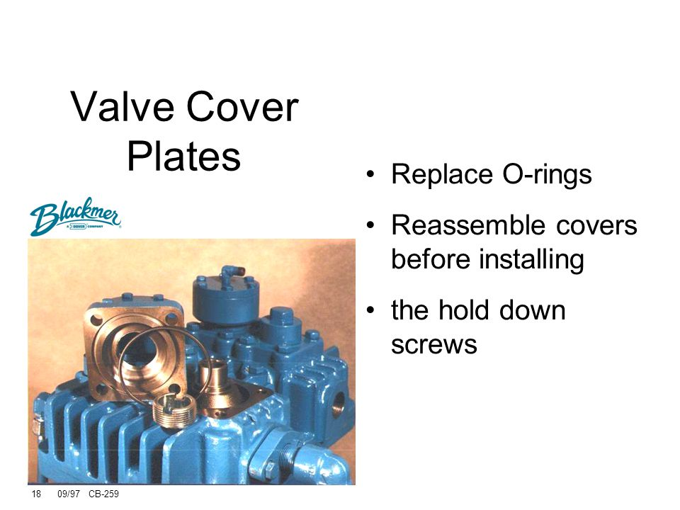 17 09/97 CB-259 Removing Standard Valves Remove the valve caps to access the valves. After the valve caps have been removed, the valve hold down screw