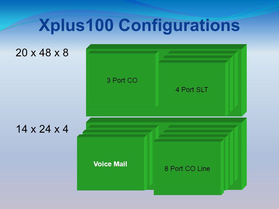 Xplus100 Configurations 3 x 8 3 Central Office 8 Digital Stations 8 Port DigitalCCB Board 3 x 8 3 Central Office 8 Digital Stations 3 Port CO 8 Port Digital Modem 3 Port CO Line Module 4 Port SLT 8 Port CO Line 8 Port Digital 14 x 24 x 4 4 Port SLT 20 x 48 x 8 Voice Mail