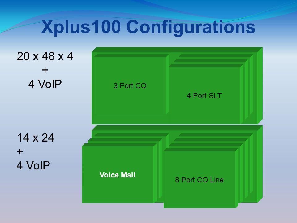 Xplus100 Configurations 3 x 8 3 Central Office 8 Digital Stations 8 Port DigitalCCB Board 3 x 8 3 Central Office 8 Digital Stations 3 Port CO 8 Port Digital Modem 3 Port CO Line Module 8 Port Digital 14 x 24 + 4 VoIP 4 Port SLT 20 x 48 x 4 + 4 VoIP 4 Port GatewayVoice Mail4 Port SLT 8 Port CO Line