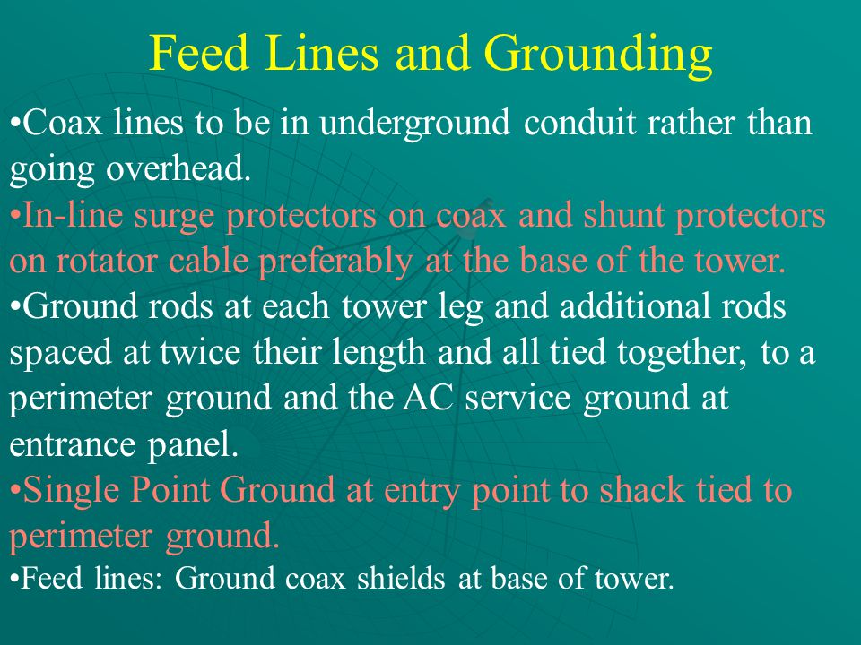 Feed Lines and Grounding Coax lines to be in underground conduit rather than going overhead.